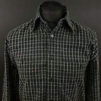BODONI Mens Vintage Cord Shirt LARGE Long Sleeve Grey Regular Fit Check Cotton