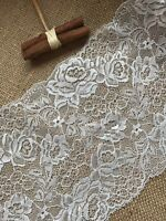 """Ivory French Lace Wide Delicate Rose 6.75""""/17 cm Bridal Craft Trim"""