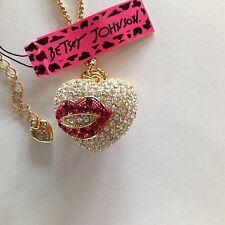 """PUFFY CRYSTAL HEART w/ LIPS  28"""" Pendant Necklace Betsey Johnson"""