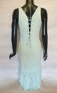 Authentic Thierry Mugler Couture Vintage Mint Green Dress Suede leather Rare 40