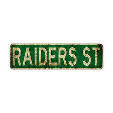 Raiders St Decor Wall Man Cave Bar Street Rustic Vintage Retro Metal Sign
