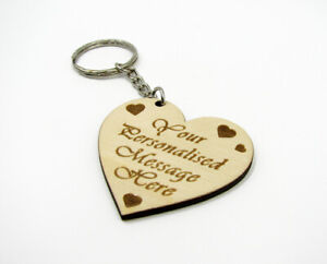 Personalised Heart Keyring with Your Message Text Engraved Keychain Gift Bespoke
