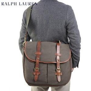 Polo Ralph Lauren Shoulder Bag Messenger Bag Canvas with Leather - Olive -