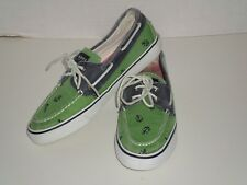 SPERRY TOP SIDER GREEN NAUTICAL ANCHOR WOMEN'S BOAT SHOES SZ 7.5 VERY NICE