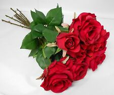 ARTIFICIAL SILK FLOWERS VINTAGE ROSE BUNCH RED