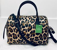 NWT Kate Spade Mega Lane bag Leopard Print Smooth Leather + Receipt Very Rare!