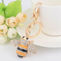 Fashion Crystal Bee Insect Metal Keychain Key Chain Key Ring Handbag Pendant