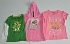New Lot Of 3 Girls John Deere Sz 5/6 6X Hooded Sweatshirt/Hoodie~Ls Tops