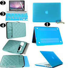Aqua Blue Rubberized Hard Case Carrying Bag Keyboard Cover For Apple Macbook