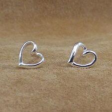 New 925 Sterling Silver Heart Outline Stud Earrings Jewellery