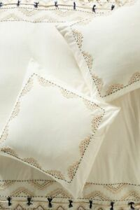 Vineet Bahl for Anthropologie Embroidered Romula Two Euro Shams NWT IVORY