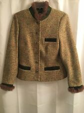 Sportalm Kitzbuhel AUSTRIA Green WOOL Tweed REAL Fur FOX Trim  Blazer JACKET S M