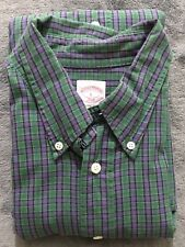 Brooks Brothers 346 Green Blue Plaid Long Sleeve Button Shirt Large A01