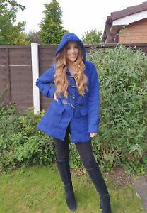 Ladies  Long Coat Womens Girls Winter Hooded Warm Toggle Jacket UK Sizes  8-26