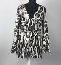 RIVER ISLAND Size UK 10 BNWT Leopard Print Playsuit Bell Sleeves
