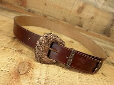 Axcess Leather Belt Flower Buckle Boho Hippie Brown Medium 28 30 Italy
