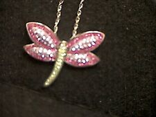 925 Silver Multi Colored Pave Crystal Dragonfly Pendant and Chain