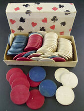 "Lot of 92 Vintage Wooden Wood Poker Chips Pla-M-Wel 1.5"" in Cardboard Box"