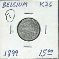 BELGIUM-2 BEAUTIFUL LEOPOLD II COINS, 1894, 10 CENTIMES, 1899 SILVER 50 CENTIMES