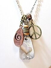 LIA SOPHIA SIGNED DANGLE CHARMS NECKLACE PEACE SIGN HEART SWIRL MIXED METAL