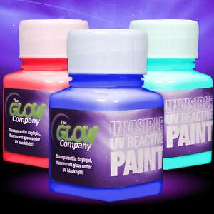 Invisible UV Paint - UV reactive, colour, acrylic, art, craft, glow