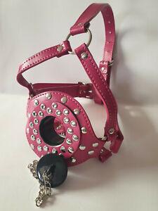 Kopfharness Ringknebel Nietenoptik pink Stöpsel abschließbar Kinnriemen Leder
