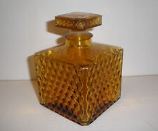 Vintage Amber Square Diamond Pattern Lidded Decanter JAPAN on Bottom GREAT!