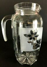 """Vintage Decover Italy Clear & Frosted Glass Pitcher With Gold Trim 8.25"""" Tall"""