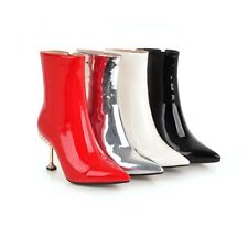 Ladies Pointed Shoes Synthetic Leather High Heels Zip Ankle Boots US Size b917
