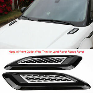 2x Dummy Hood Vent Air Wing Trim Glossy Black For Land Rover Range Rover 2013-18