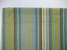 MEADOW BROOK Striped Cotton Shower Curtain Greens, Blues, Cream & Brown Stripes