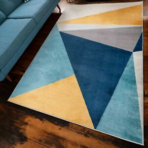 Blue Geometric Rugs for Living Room Giant Teal Yellow Modern Sharp Soft Rugs NEW