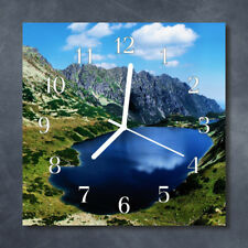 Glass Wall Clock Kitchen Clocks 30x30 cm silent Meerauge Blue