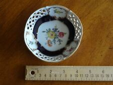 Kaiser W.Germany Blue Gold Lattice Trinket Ring Jewelry Candy Dish Weimar Floral
