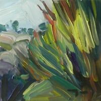 JOSE TRUJILLO ORIGINAL Oil Painting IMPRESSIONISM Bush Tall Grass Plein Air COA