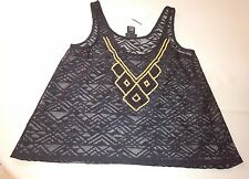 rue 21 womens swim suit cover up shirt  size medium sleeveless black lace
