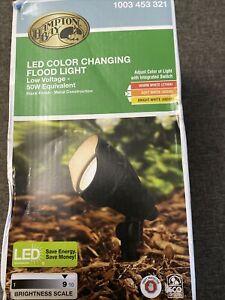 Hampton Bay LED Landscape Walkway Flood Adjustable Light Color Outdoor Black