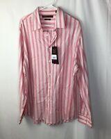 Perry Ellis Mens Pink Striped Button Up Shirt Size XXL 100% algodon
