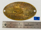 Brass Tag FAIRBANKS MORSE Z C 118 Hit Miss Engine Tractor Antique Name Plate ZC