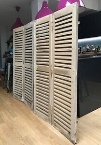 ANTIQUE FRENCH CHATEAU SHUTTERS, 2 PAIRS. ARCHITECTURAL SALVAGE, ORIGINAL PAINT