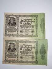 2 Geldscheine  Fünfzigtausend Mark 50000  Reichsbanknote  November 1922  '3
