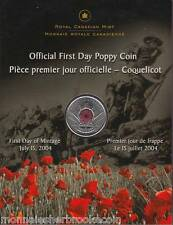 2004 Canada Official First Day Poppy 25 Cent Coloured - B525