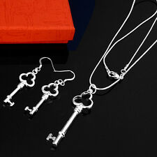Wholesale 925Sterling  Silver Jewelry Knot Key Women Necklace Earrings S200