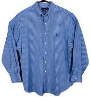 Polo Ralph Lauren Long Sleeve Oxford Shirt Striped Mens Sz XL Blue White EUC