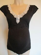 NEXT MATERNITY BLACK SPOT LACE TRIM PYJAMA TOP SLEEP BIRTH VEST SIZE 8