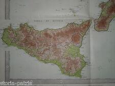 GRANDE ANTICA MAPPA GEOGRAFICA_CALABRIA_SICILIA_LAMPEDUSA_USTICA_LIPARI_LEUCA