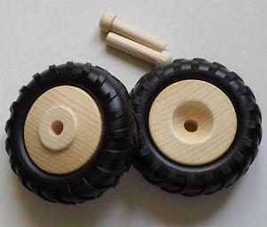 2 Holzräder mit Profilgummi, Traktorreifen groß, #3580