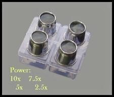 4-Piece Aluminum Eye Loupe Set 10x, 7.5x, 5x, 2.5x