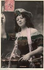 BE352 Carte Photo vintage card RPPC Femme woman Perrier Fantaisie beret ouvreuse