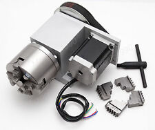 4-Jaw Claw Chuck CNC Engraving Router Rotational Axis,4th Axis, A axis ratio 1:6